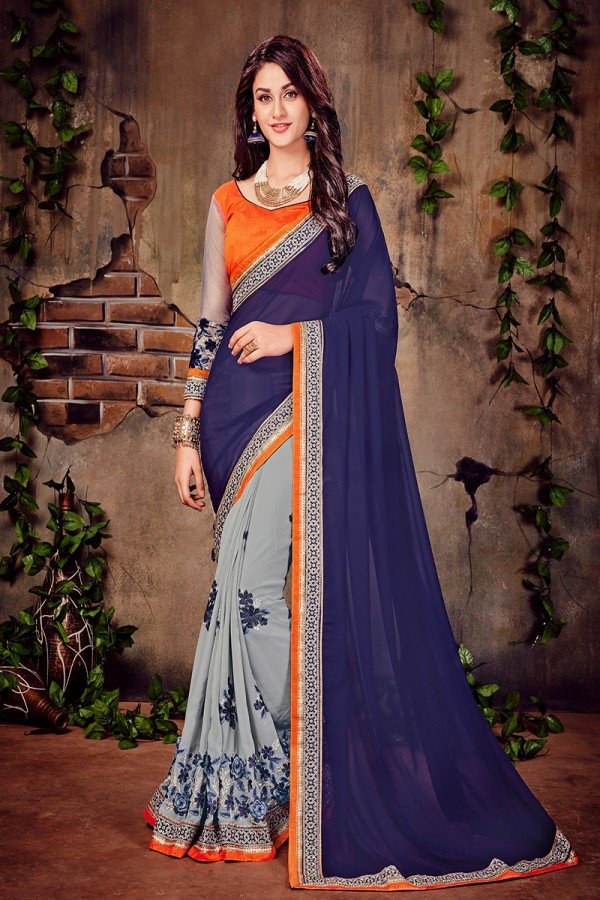 Celebrity embroidered sarees online